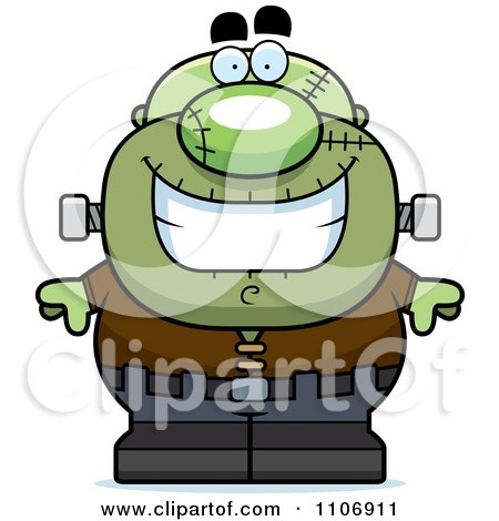 Clipart Happy Pudgy Frankenstein - Royalty Free Vector Illustration by Cory Thoman