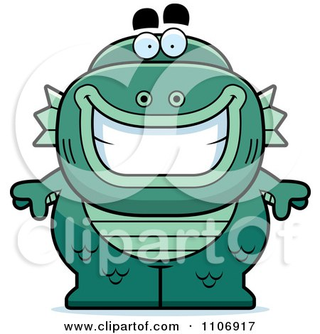 Clipart Happy Fish Man Monster - Royalty Free Vector Illustration by Cory Thoman