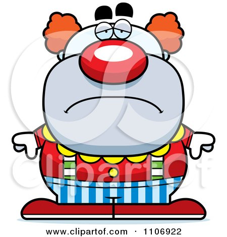 Clipart Depressed Pudgy Circus Clown - Royalty Free Vector Illustration by Cory Thoman