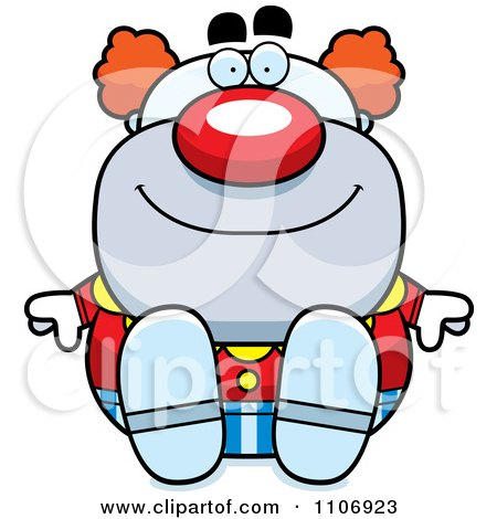 Clipart Sitting Pudgy Circus Clown - Royalty Free Vector Illustration by Cory Thoman