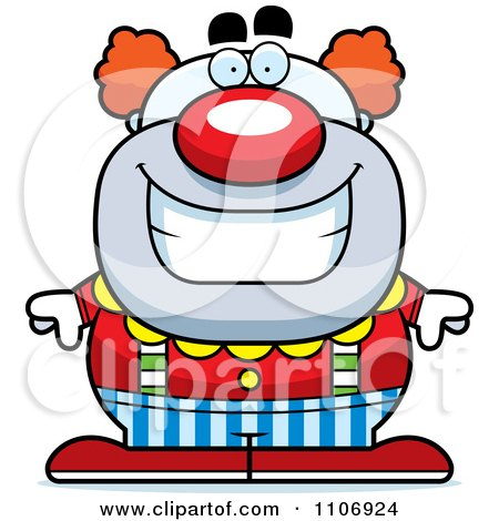 Clipart Happy Pudgy Circus Clown Royalty Free Vector Illustration