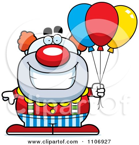 Clipart Pudgy Circus Clown With Balloons - Royalty Free Vector Illustration by Cory Thoman