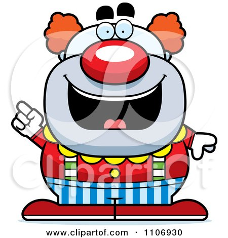 Clipart Pudgy Circus Clown With An Idea - Royalty Free Vector Illustration by Cory Thoman