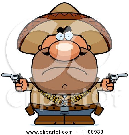 Clipart Angry Hispanic Bandit - Royalty Free Vector Illustration by Cory Thoman