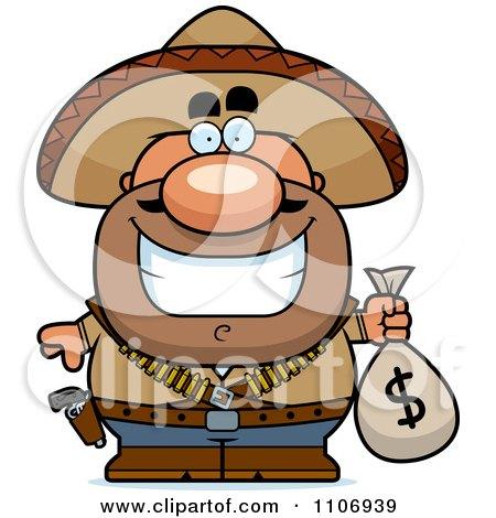 Clipart Hispanic Bandit Holding A Money Bag - Royalty Free Vector Illustration by Cory Thoman