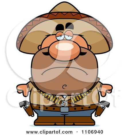 Clipart Depressed Hispanic Bandit - Royalty Free Vector Illustration by Cory Thoman