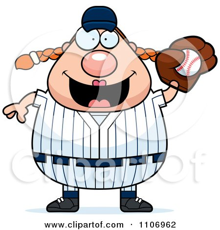 Clipart Female Baseball Player Catching A Ball - Royalty Free Vector Illustration by Cory Thoman