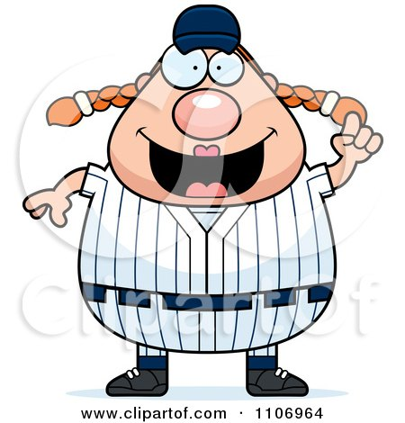 Clipart Female Baseball Player With An Idea - Royalty Free Vector Illustration by Cory Thoman