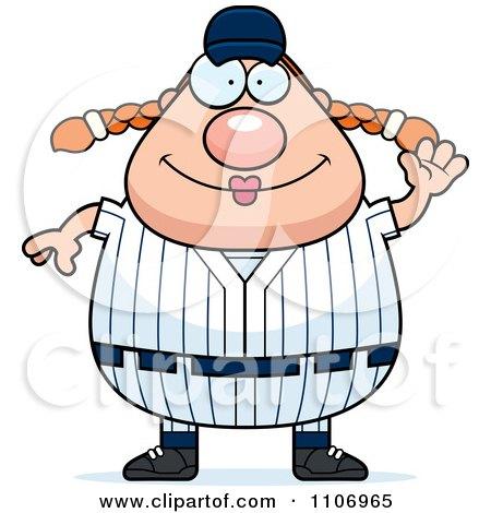 Clipart Waving Female Baseball Player - Royalty Free Vector Illustration by Cory Thoman