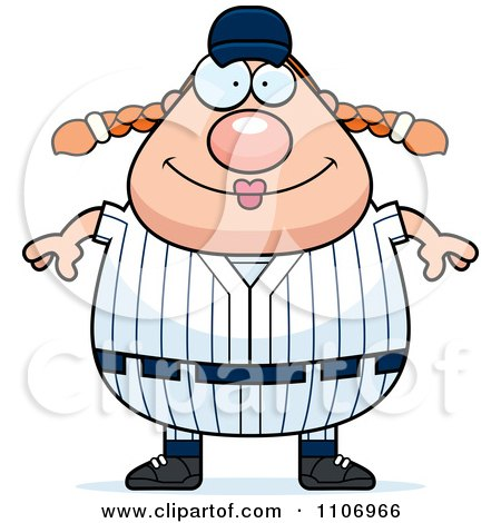 Clipart Happy Female Baseball Player - Royalty Free Vector Illustration by Cory Thoman