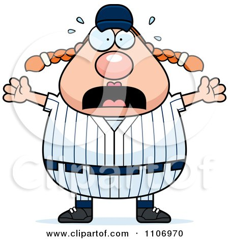 Clipart Stressed Female Baseball Player - Royalty Free Vector Illustration by Cory Thoman