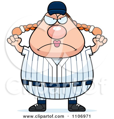 Clipart Angry Female Baseball Player - Royalty Free Vector Illustration by Cory Thoman