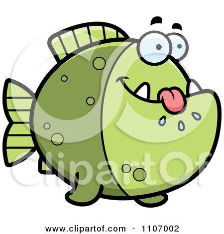 Clipart Hungry Green Piranha Fish - Royalty Free Vector Illustration by Cory Thoman