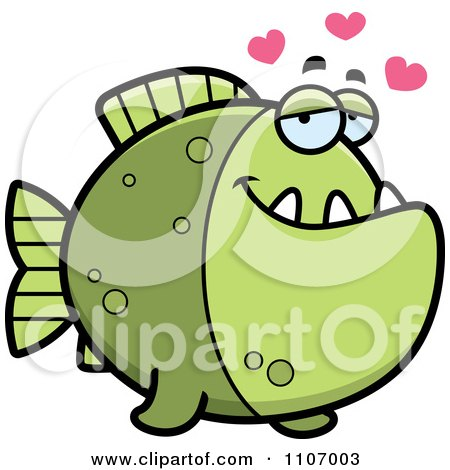 Clipart Green Piranha Fish In Love - Royalty Free Vector Illustration by Cory Thoman
