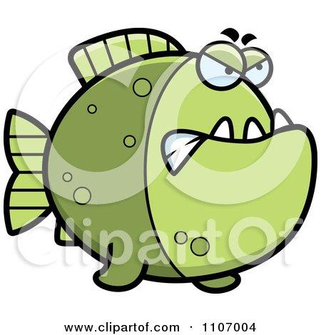 Clipart Mad Green Piranha Fish - Royalty Free Vector Illustration by Cory Thoman