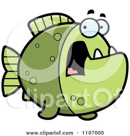 Clipart Scared Green Piranha Fish - Royalty Free Vector Illustration by Cory Thoman
