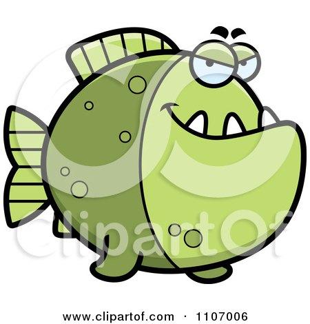 Clipart Sly Green Piranha Fish - Royalty Free Vector Illustration by Cory Thoman