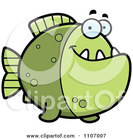 Clipart Happy Green Piranha Fish - Royalty Free Vector Illustration by Cory Thoman