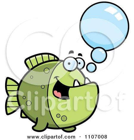 Clipart Talking Green Piranha Fish - Royalty Free Vector Illustration by Cory Thoman