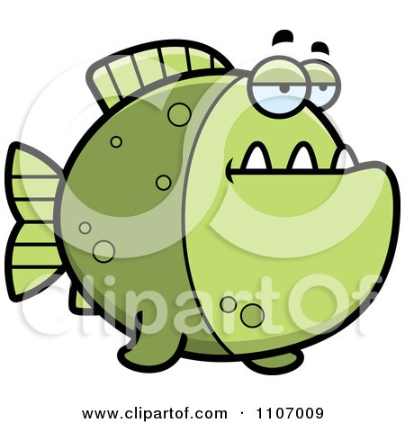Clipart Bored Green Piranha Fish - Royalty Free Vector Illustration by Cory Thoman