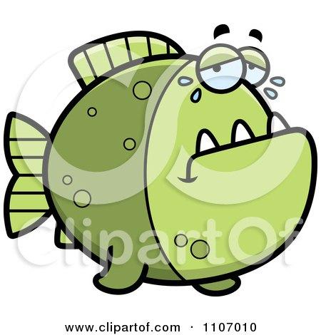 Clipart Crying Green Piranha Fish - Royalty Free Vector Illustration by Cory Thoman