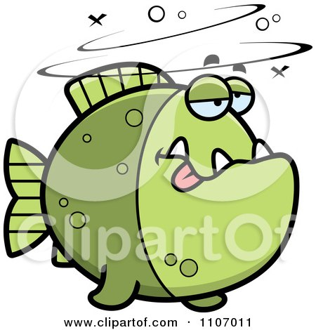 Clipart Drunk Green Piranha Fish - Royalty Free Vector Illustration by Cory Thoman