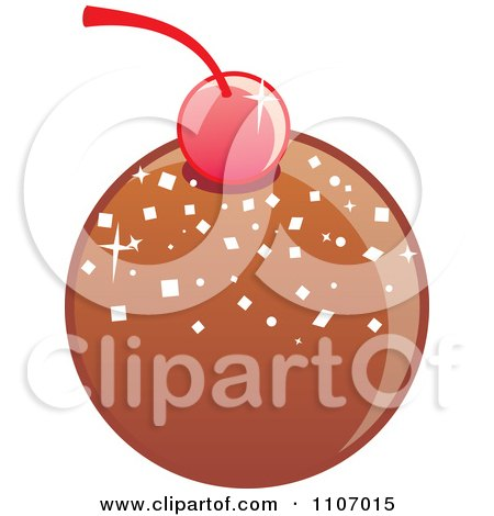 Clipart Round Dark Chocolate Bonbon With A Cherry Royalty Free Vector Illustration