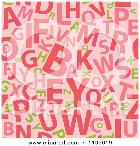 Clipart Seamless Pink Alphabet Background Pattern - Royalty Free Vector Illustration by Amanda Kate