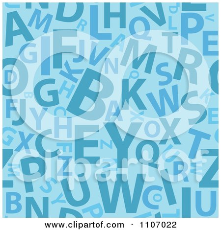 Clipart Seamless Blue Alphabet Background Pattern - Royalty Free Vector Illustration by Amanda Kate