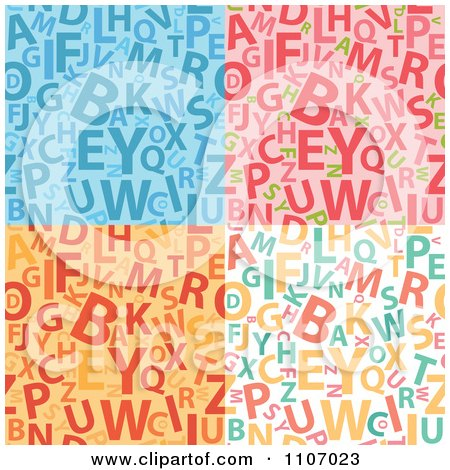 Clipart Seamless Alphabet Background Patterns - Royalty Free Vector Illustration by Amanda Kate