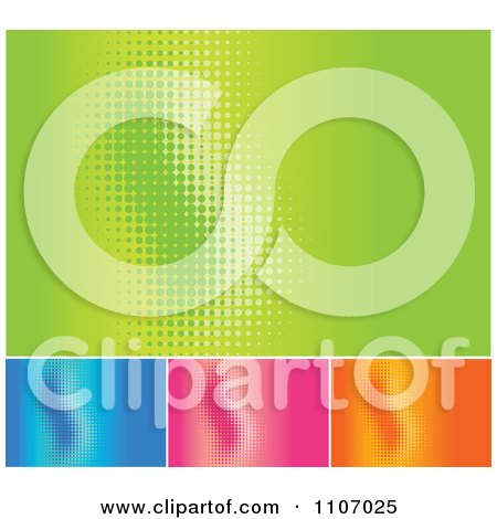 Clipart Green Blue Pink And Orange Halftone Wave Backgrounds With Copyspace - Royalty Free Vector Illustration by Amanda Kate