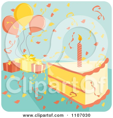 Clipart Candle In A Birthday Cake Slice With Confetti Balloons And Gifts On Blue - Royalty Free Vector Illustration by Amanda Kate