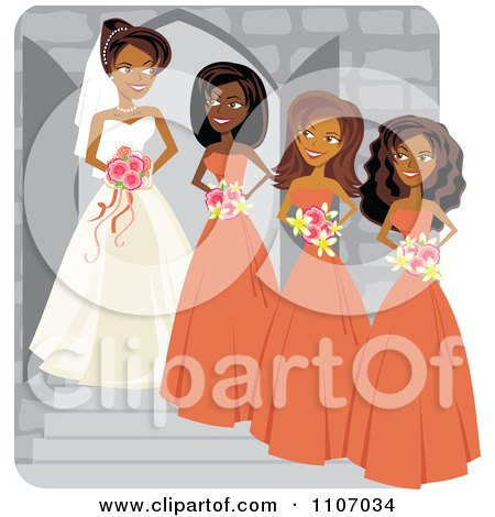 Clipart Happy Black Bride Posing With Her Bridesmaids - Royalty Free Vector Illustration by Amanda Kate