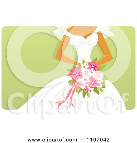 Clipart Bride Holding A Pink Bouquet Over Green - Royalty Free Vector Illustration by Amanda Kate