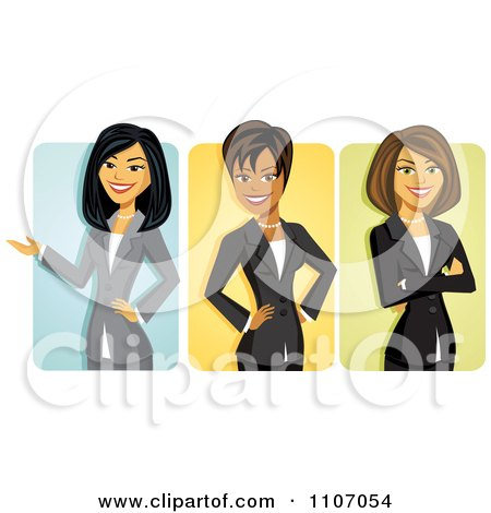 Clipart Asian Black And Caucasian Businseswomen Avatars Royalty Free Vector Illustration
