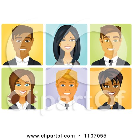 Clipart Diverse Business Men And Women Avatars - Royalty Free Vector Illustration by Amanda Kate