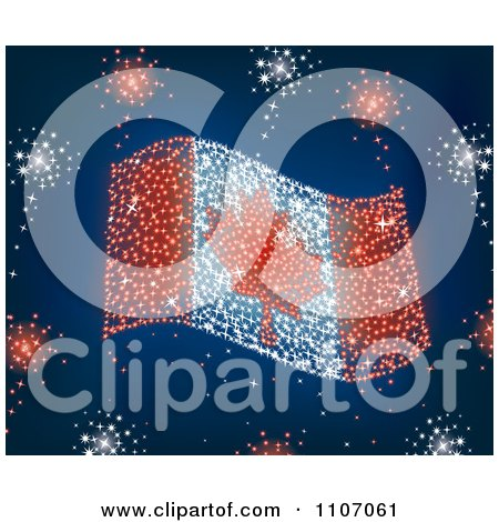 Clipart Canada Day Fireworks In The Shape Of The Maple Leaf Flag - Royalty Free Vector Illustration by Amanda Kate