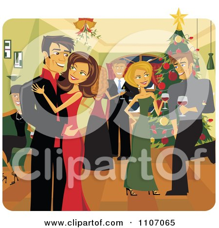 Happy Christmas Couple Kissing Under Mistletoe At A Party Posters, Art Prints