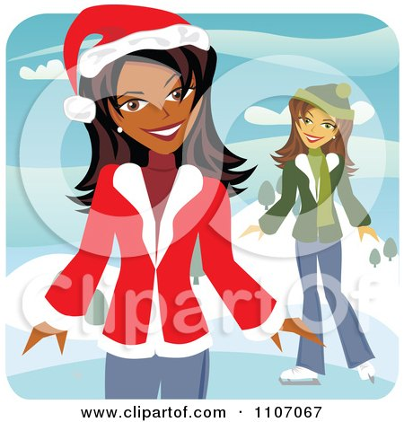 Clipart Two Happy Christmas Women Ice Skating In The Winter - Royalty Free Vector Illustration by Amanda Kate