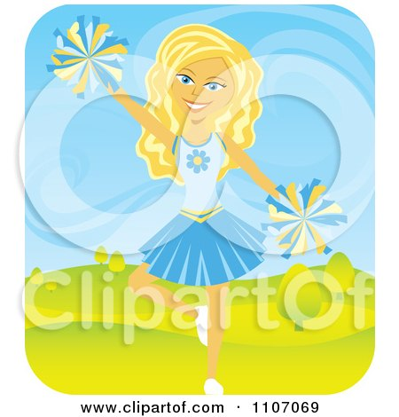 Clipart Blond Teenage Cheerleader Jumping With Pom Poms Outdoors - Royalty Free Vector Illustration by Amanda Kate