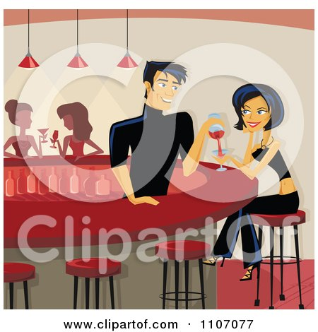 Clipart Flirty Male Bartender Pouring A Beautiful Woman A Drink At The Counter - Royalty Free Vector Illustration by Amanda Kate