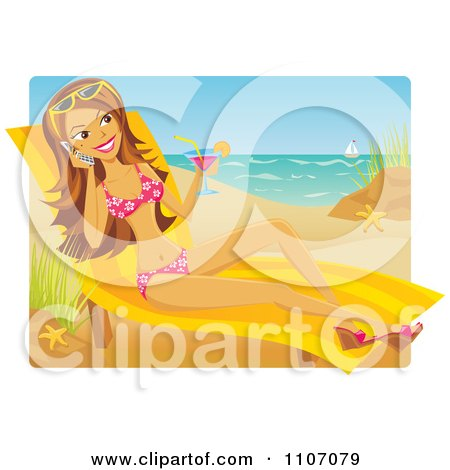 Clipart Beautiful Woman Sun Bathing Drinking A Cocktail And Talking On Her Cell Phone On A Beach - Royalty Free Vector Illustration by Amanda Kate