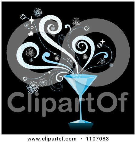 Clipart Blue Martini Cocktail With Splashes On Black - Royalty Free Vector Illustration by Amanda Kate