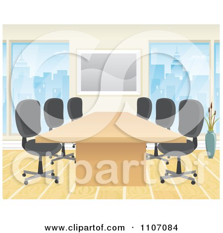 Clipart Office Boardroom Interior With A Meeting Table And Chairs - Royalty Free Vector Illustration by Amanda Kate