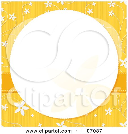 Clipart White Circle Frame Over Yellow With Flowers - Royalty Free Vector Illustration by Amanda Kate