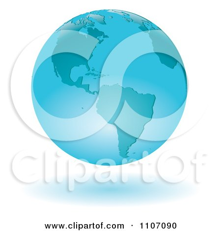 Clipart Floating Blue Globe Featuring The Americas - Royalty Free Vector Illustration by Amanda Kate