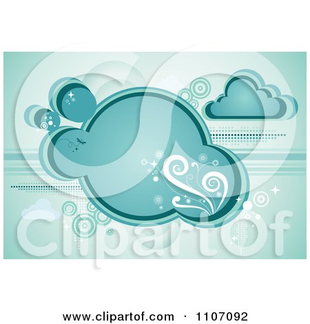 Clipart Turquoise Cloud With Vines Sparkles And Circles - Royalty Free Vector Illustration by Amanda Kate