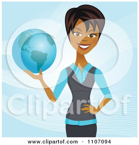 Clipart Happy Black Businesswoman Holding A Globe And Standing Over Blue With Waves - Royalty Free Vector Illustration by Amanda Kate