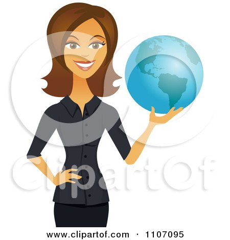Clipart Happy Brunette Businesswoman Holding A Globe - Royalty Free Vector Illustration by Amanda Kate