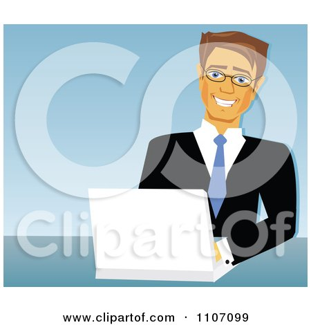 Clipart Happy Caucasian Businessman Using A Laptop Over Blue - Royalty Free Vector Illustration by Amanda Kate